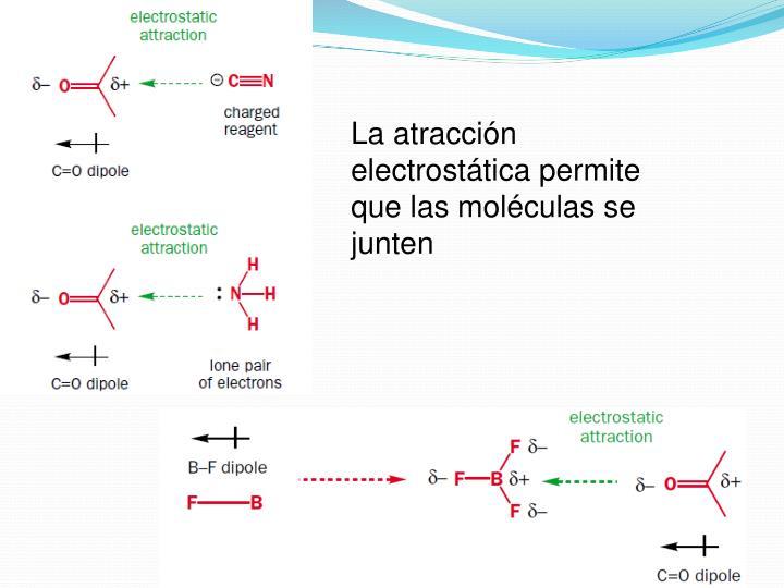 La atracción electrostática permite que las moléculas se junten
