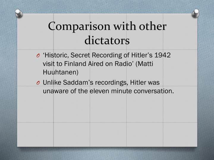 Comparison with other dictators