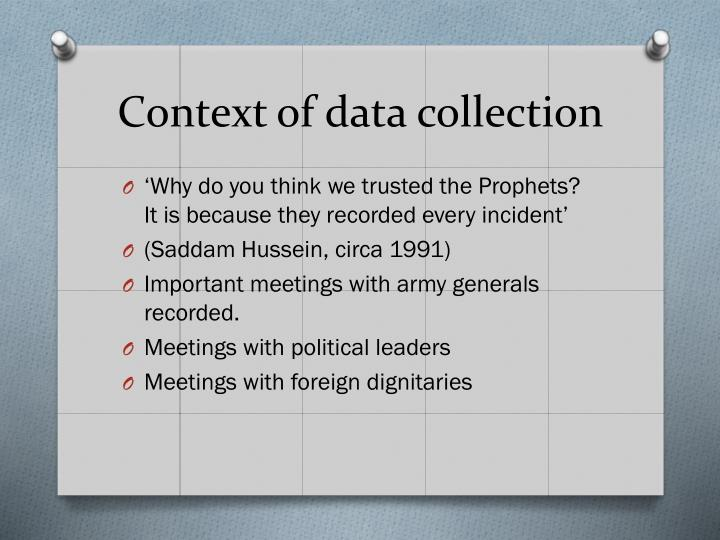 Context of data collection