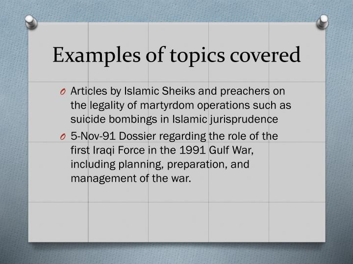 Examples of topics covered