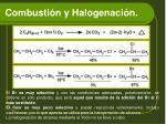 combusti n y halogenaci n