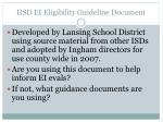 iisd ei eligibility guideline document