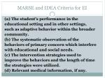 marse and idea criteria for ei3