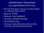 administrative department accomplishments activities