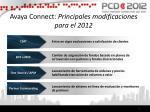 avaya c onnect principales modificaciones para el 2012