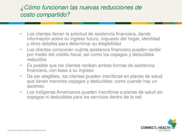 ¿Cómo funcionan las nuevas reducciones de costo compartido?