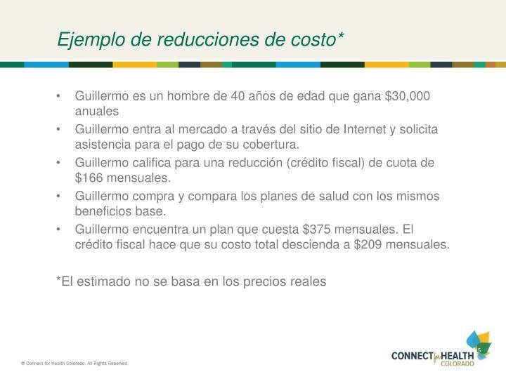 Ejemplo de reducciones de costo*