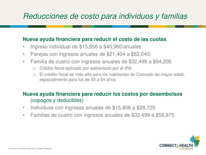 Reducciones de costo para individuos y familias