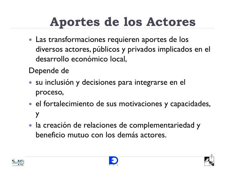 Aportes de los Actores