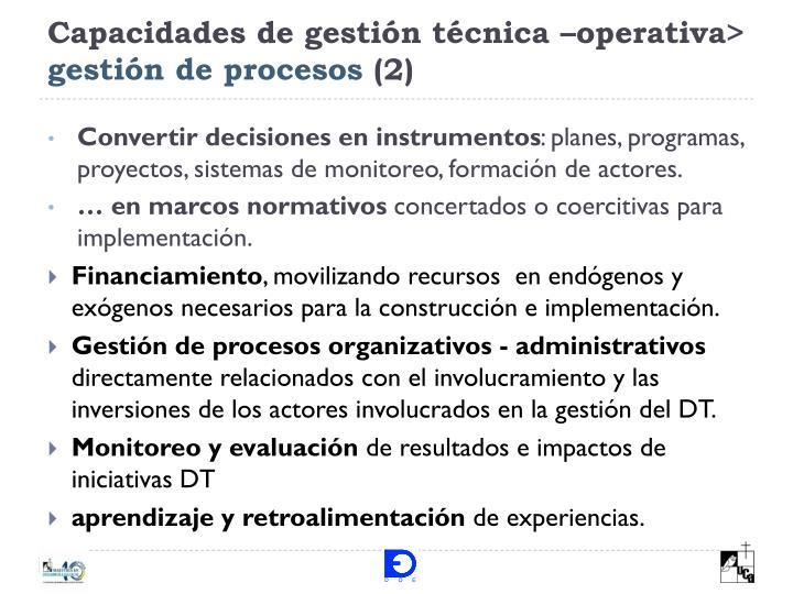Capacidades de gestión técnica –operativa>