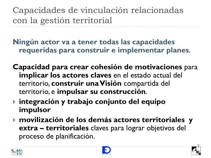 Capacidades de vinculación relacionadas con la gestión territorial