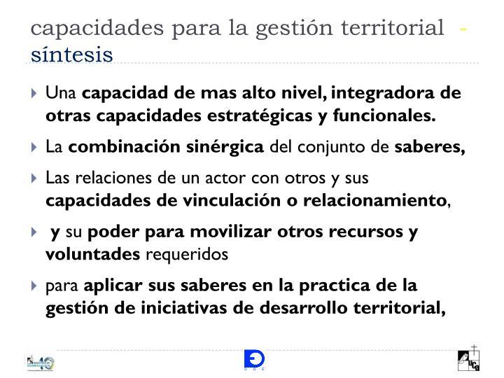 capacidades para la gestión territorial