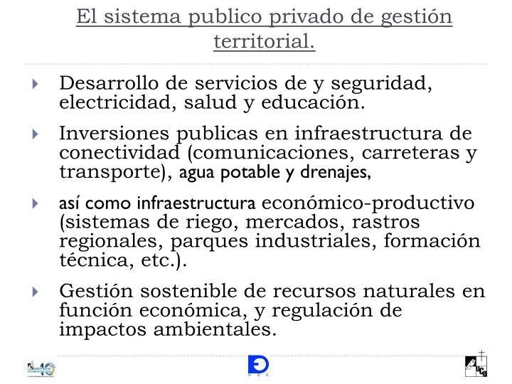 El sistema publico privado de gestión territorial.