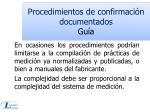 procedimientos de confirmaci n documentados gu a