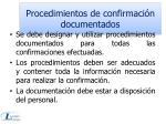 procedimientos de confirmaci n documentados