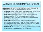 activity 13 summary response