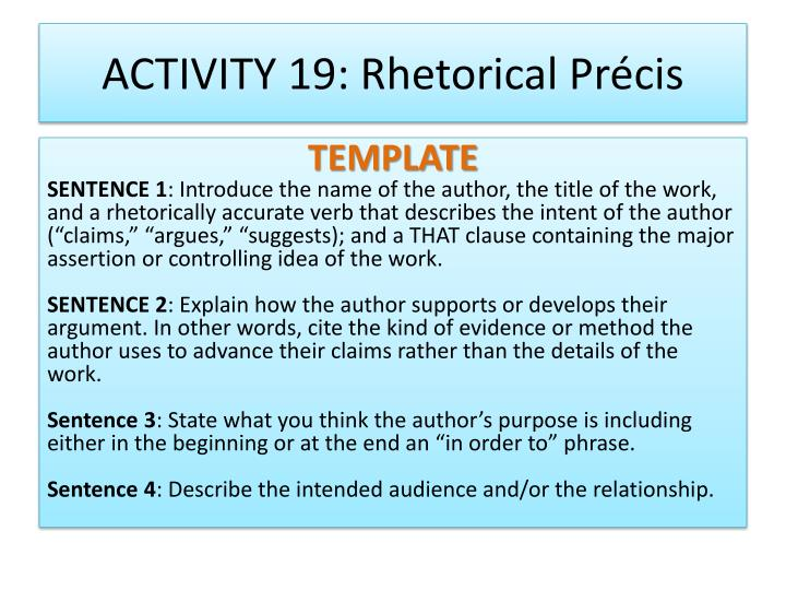 rhetorical precis Get access to rhetorical precis essays only from anti essays listed results 1 - 30 get studying today and get the grades you want only at.