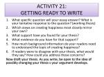 activity 21 getting ready to write
