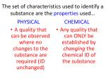 the set of characteristics used to identify a substance are the properties used