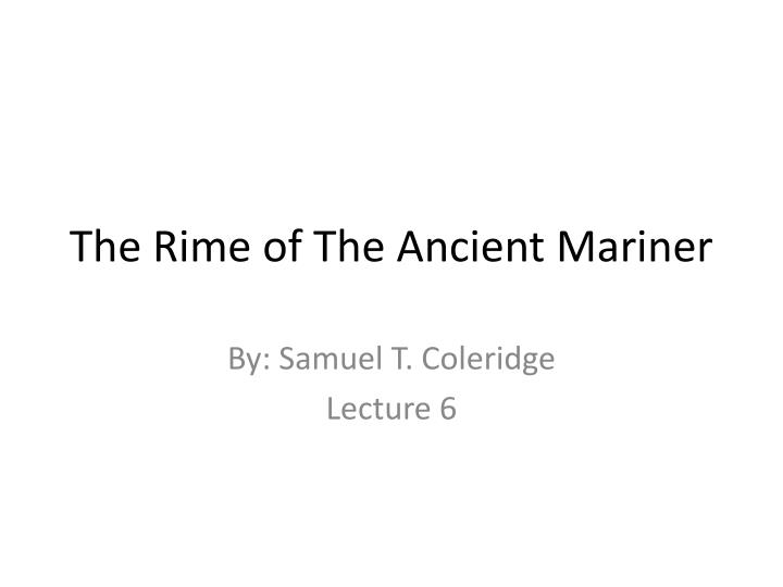 the rime of the ancient mariner n.