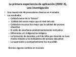 la primera experiencia de aplicaci n 2002 3 una investigaci n
