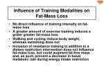influence of training modalities on fat mass loss