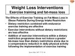 weight loss interventions exercise training and fat mass loss