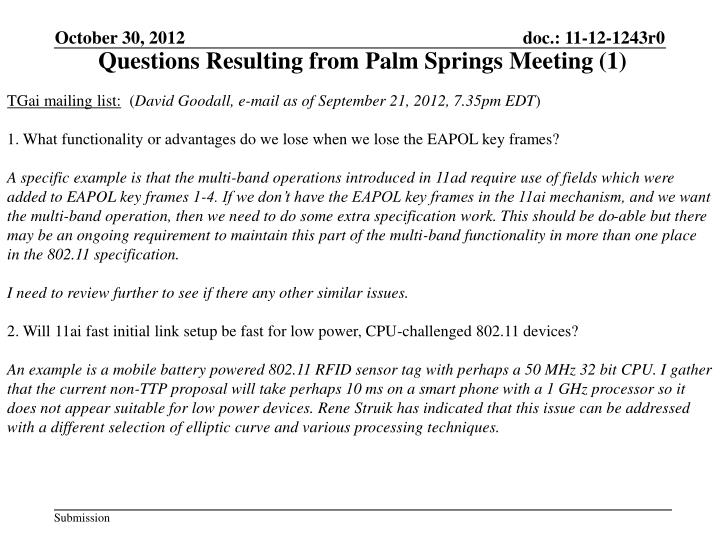 Questions Resulting from Palm Springs Meeting (1)