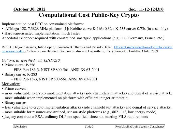 Computational Cost Public-Key Crypto