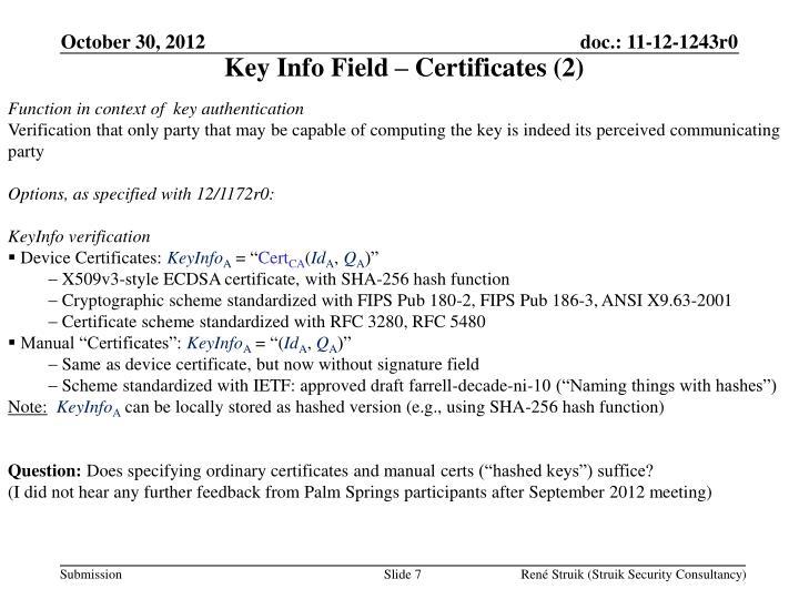 Key Info Field – Certificates (2)
