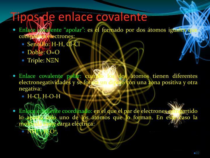 Tipos de enlace covalente