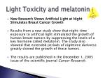 light toxicity and melatonin