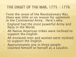 the onset of the war 1775 1776