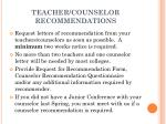 teacher counselor recommendations