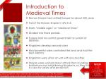 introduction to medieval times
