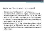 major achievements continued