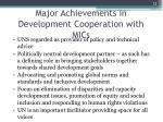 major achievements in development cooperation with mics