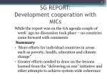 sg report development cooperation with mics