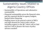 sustainability issues related to algeria country offices