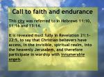 call to faith and endurance116