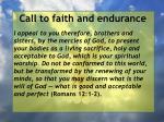 call to faith and endurance161