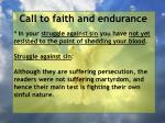 call to faith and endurance49