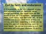 call to faith and endurance81