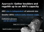 approach gather boulders and regolith up to an arv s capacity