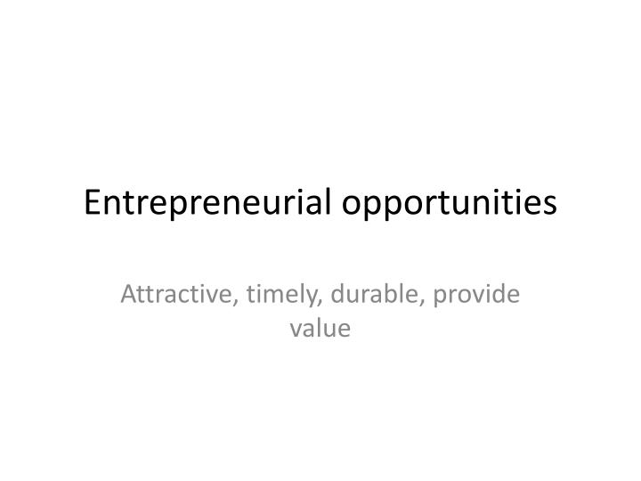 entrepreneurial opportunities n.