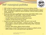 imf rozvojov politika