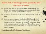 the craft of endings some questions and tentative answers