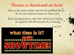 theatre as durational art form
