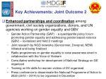 key achievements joint outcome 2