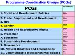 programme coordination groups pcgs
